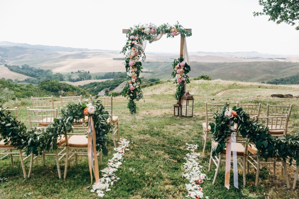 outdoor wedding and flowers