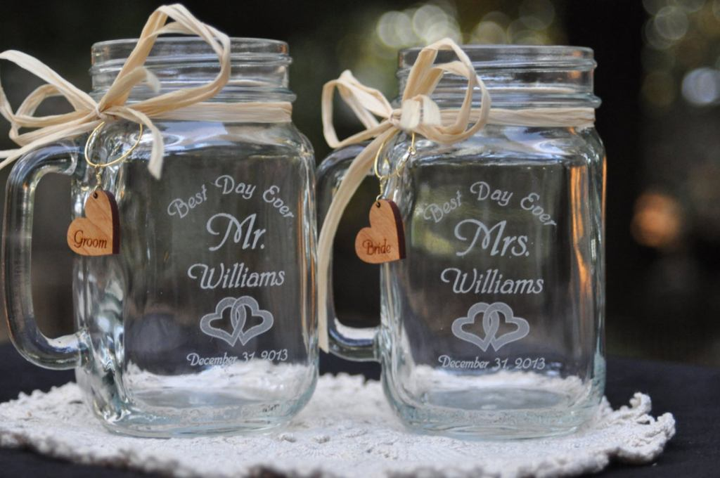 etched glasses wedding favors